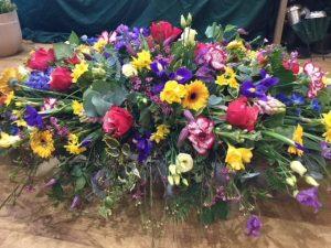 Mixed colour floral arrangements, florist, Chard
