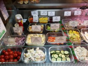 Salad bar at Barleymows Farm Shop